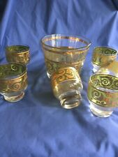 New listing Mcm Culver Low Ball Glasses And Ice Bucket Toledo Pattern