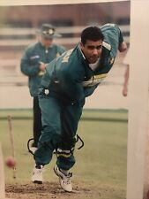 More details for waqar younis pakistan signed 10x8 photo cricket legend- imran khan akram team