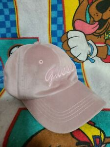 Guess Vintage Baseball Cap Hat Pink Adjustable Suede Authentic