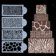 Durable 4Pcs/Set Cake Icing Sugarcraft Stencils Mold For Home Birthday Christmas