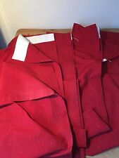 """PRELOVED CHERRY RED DOBBY WEAVE CURTAINS 30""""W X 66""""L - 4 PANELS ( 2 PRS)"""