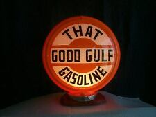 THAT GOODGULF gas pump globe & LIGHT STAND NEW reproduction 2 GLASS LENS