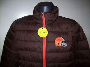 CLEVELAND BROWNS Puffer Pack It Jacket with Tote Bag S M LG   BROWN