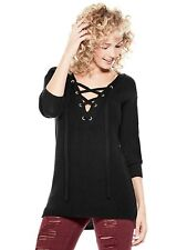 GUESS Sweater Women's Oversize Lace-Up Rib Knit Pullover Jumper Top XS Black NWT