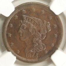1855 Braided Hair 1/2c C-1 AU 50 BN Stack's W 57th St. Collection NGC 125H