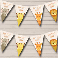 Party Banner Bunting Jungle Animals Cute Personalised Baby Shower