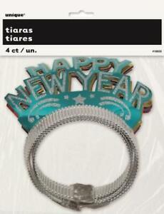 """Happy New Year"" Glitter Headband Tiara  4pk - New Years Eve Party Supplies"