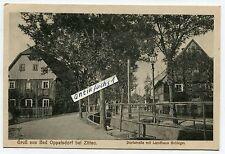 Postkarte um 1918 : Bad Oppelsdorf / Opolno Zdroj bei Zittau , Landhaus Schlegel