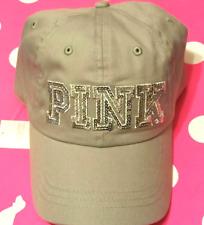 NWT VICTORIA'S SECRET PINK LOGO BASEBALL BLING GREY ADJUSTABLE STRAP O/S CAP HAT