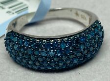 Sterling Silver Pave Blue Diamond Ring 1 Karat New With Tags Band Ring