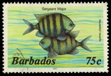 "BARBADOS 654a (SG774b) - Marine Life ""Sergeant Major Fish"" 1987 (pf84480)"