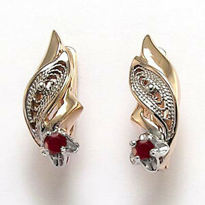 Russian Vintage Style Genuine Ruby Earrings 14k Solid Rose & White Gold  #E1251.