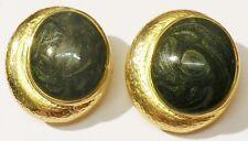 boucles d'oreilles clips couleur or bijou vintage cabochon vert marbré irisé 123