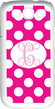 One Initial Monogram Fuchsia and White Polka Dot Samsung Galaxy S3 Case Cover