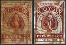 """2 DECKS Bicycle """"Expert"""" Back playing cards RARE ERROR & CORRECTED VERSIONS!"""