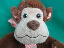 Wonderful Animal Adventure Baby Browns Smiling Monkey Plush Orange Gingham Bow