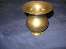 BRASS VASE SOLID FROM INDIA  4 INCH TALL TOP 3 1/2 INCH ACROSS MIDDLE 10 IN.
