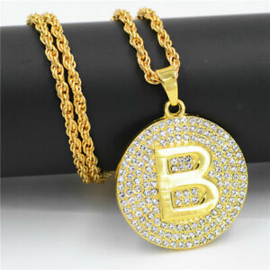 Jewelry Letter B Necklace Gold Color Long Chain Pendant Necklaces For Men Women