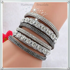 Grey Classic Swarovski Elements Wrap Slake Bracelet by Harmony Bracelets