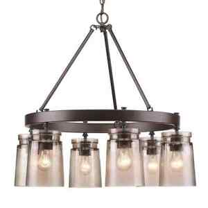 Golden L.Travers 6-Light Rubbed Bronze Chandelier w/Frosted Artisan Glass Shades
