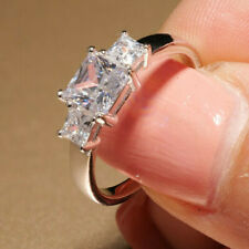 2ct 3 Stone Princess Cut White Diamond Engagement Solitaire 14K White Gold Over