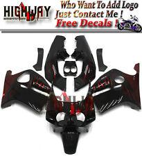 Black Red Flames Injection ABS Fairings Fit Honda CBR250RR MC19 98-99 Bodywork D