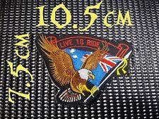 Quality Iron/Sew on Live to ride eagle patch aussie flag oz australian cut vest