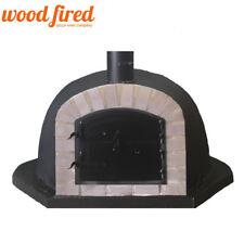 wood fired Pizza oven 100cm black deluxe-extra-corner grey-brick/black-door