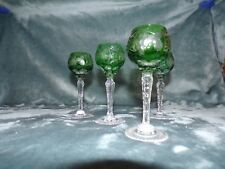 4 AJKA MARSALA CUT TO CLEAR GREEN CASED CRYSTAL TALL HOCK WINE GLASSES SET OF 4