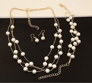 Multi-Layer Simulated 8mm Pearl Charm Temperament Necklace Bracelet Earrings Set