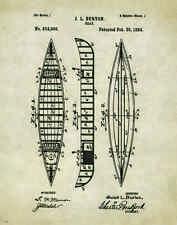"Fishing Canoe Boat Motor Patent Poster Art  Antique Reels Lures 11""x14"" PAT135"