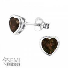 925 Sterling Silver Smoky Topaz Gemstone Heart Stud Earrings (Design 3)