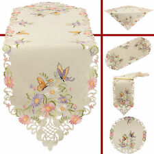 Butterfly Table runner Doily Tablecloth Ecru with coloured Flower Embroidery