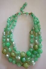 VINTAGE 3 Strand Turchese Lucite Perline Collana