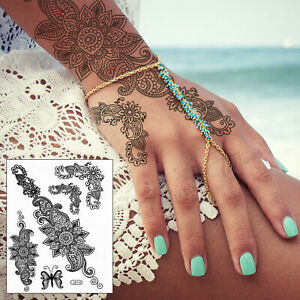 Henna Temporary Tattoo Set - Black Mandala Kit Lace Transfer Stickers Waterproof