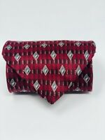 BILL BLASS BLACK LABEL 100% Silk Geometric Print Men's Neck Tie - Dark Red
