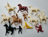 Vintage Cowboys Indians with Horses Plastic Lot of 16 Pieces 1960s Toys Playset