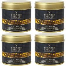 4 x Shearer Candles Uisge Beatha Large Scented Tartan Tin Candle - 40 Hour Burn