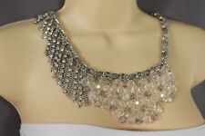 Women Silver Metal Chains Multi Fringes Necklace Fashion Rhinestones Clear Beads