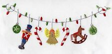 """Cristmas Ornament Clothesline Embroidery Pillow Cushion Cover  12""""x 16"""""""