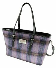 Ladies Authentic Harris Tweed Tote Bag With Shoulder Strap Lilac Check COL 34