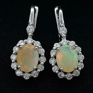 World Class 8.00ctw Opal & Diamond Cut White Sapphire 925 Silver Earrings 6.5g