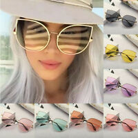 Large Oversized Cat Eye Sunglasses Metal Frame Flat Mirrored Lens Women Fashion