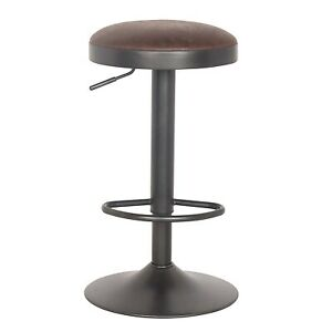 1 Antique Leather Bar Stool Leather Adjustable Chair Seat Kitchen (BRAND NEW)