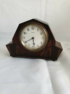 SMALL VINTAGE BAYARD 8 DAY ART DECO OAK CASED MANTEL CLOCK FOR SPARES OR REPAIR
