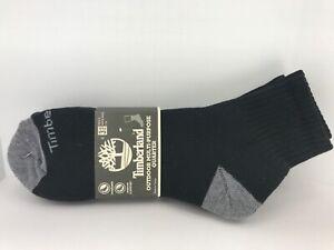 Men's TIMBERLAND Black 28% COTTON Quarter Crew Socks - 3 Pack - $28 MSRP 🎾⛳️🎒