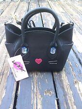 NWT Luv Betsey by Betsey Johnson Black Cat Satchel Crossbody Bag Katt MSRP:$58