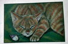 "Oswoa 4x6"" Orig. Ginger Tabby Kitten Cat Toy Mouse V. Moore Twofrogfarm Not Aceo"