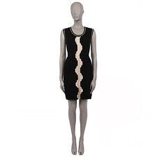 36827 auth CHANEL black & beige PLEATED wool Sleeveless Dress 36 XS