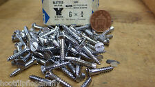 "25 x NETTLEFOLDS 3/4"" x 6 CHROME ON BRASS COUNTERSUNK SLOTTED WOODSCREW screws"
